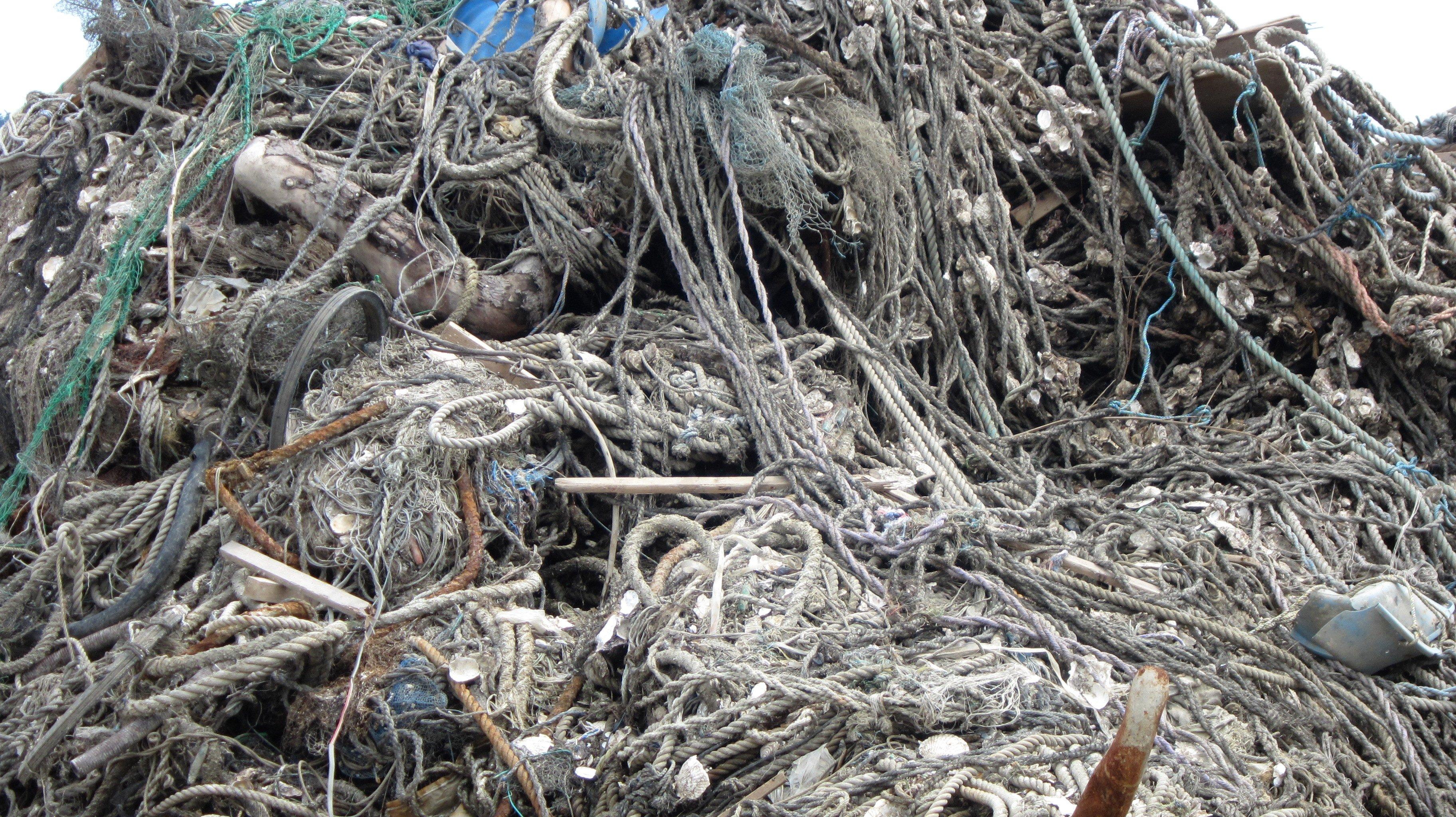 Japan, Ishinomaki, Koamikura-hama, Koamikurahama, ropes, mountains, tsunami, debris, 3.11, 2011, March 11, clean-up, recovery, efforts, volunteering, piles