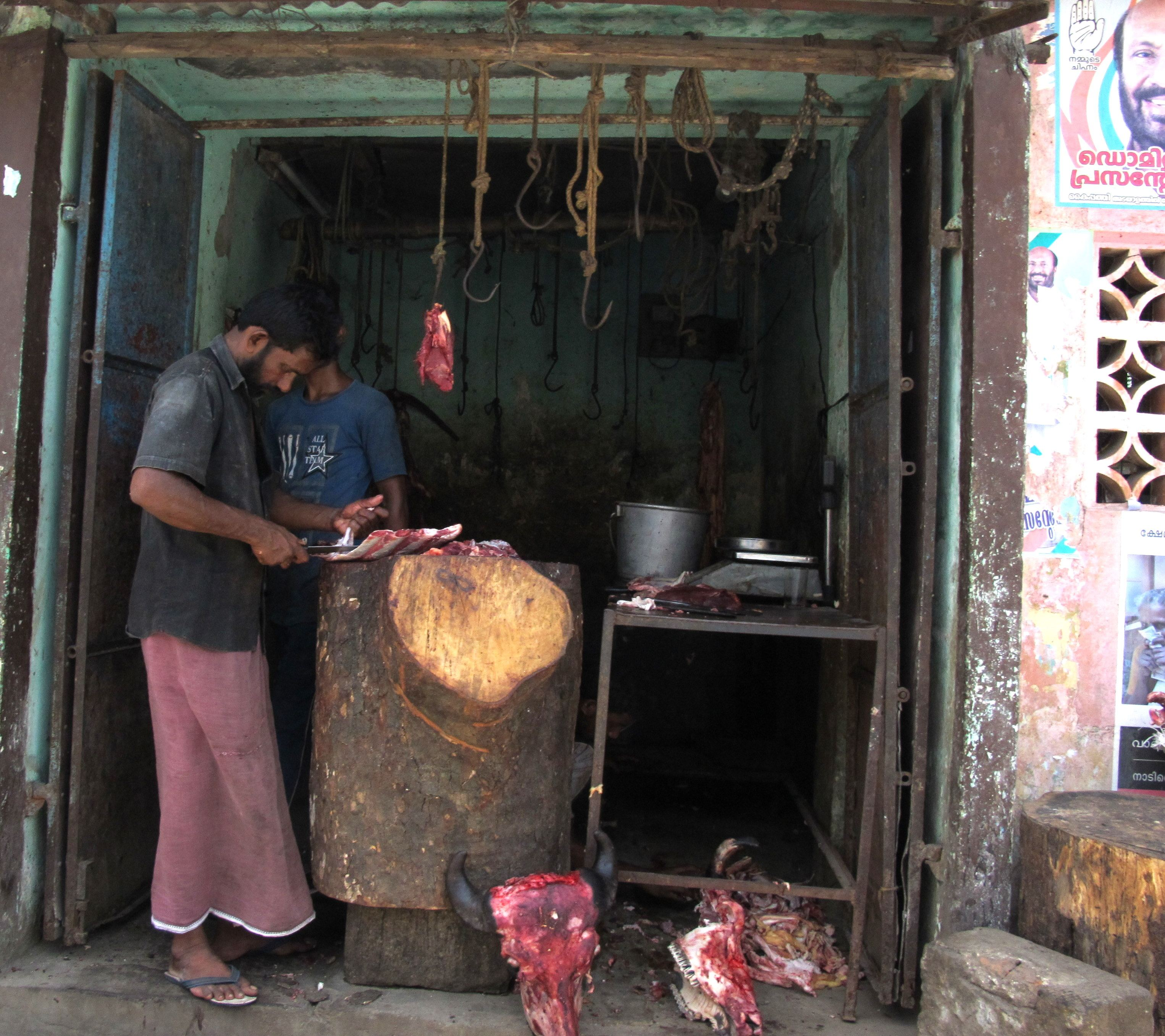 Road-side butcher, Cochin, India