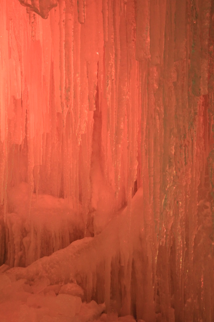 Glistening icicles in the ice cave.