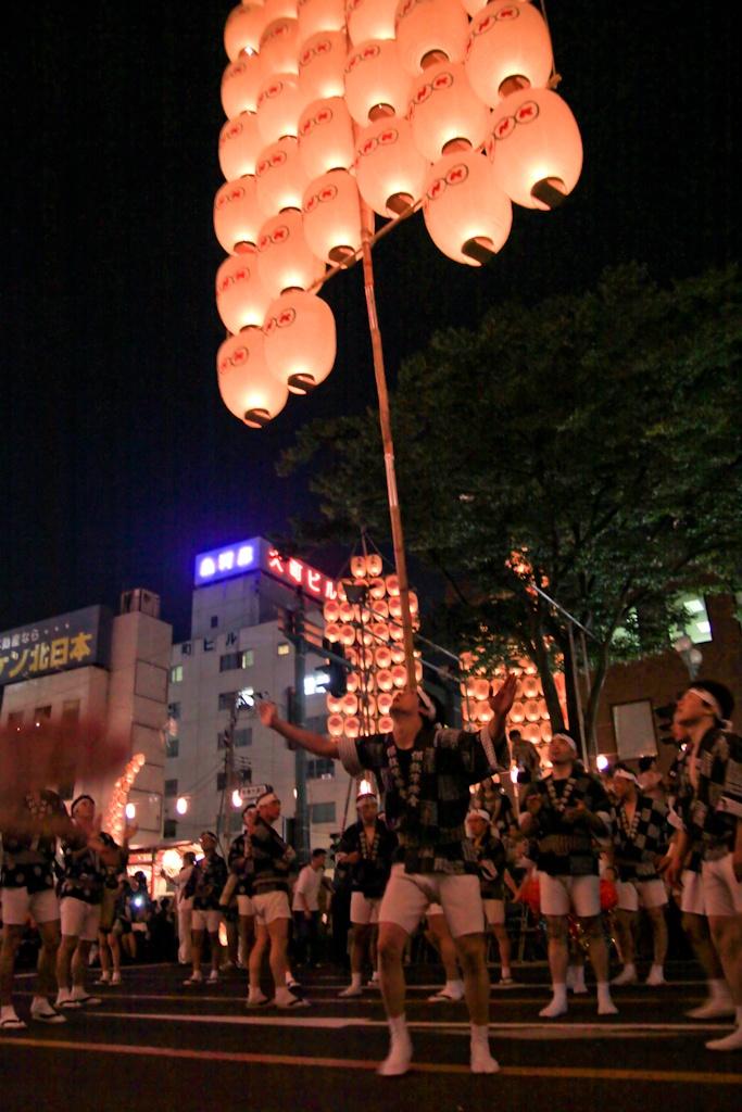 Heading up, Kanto Matsuri, Akita, Japan