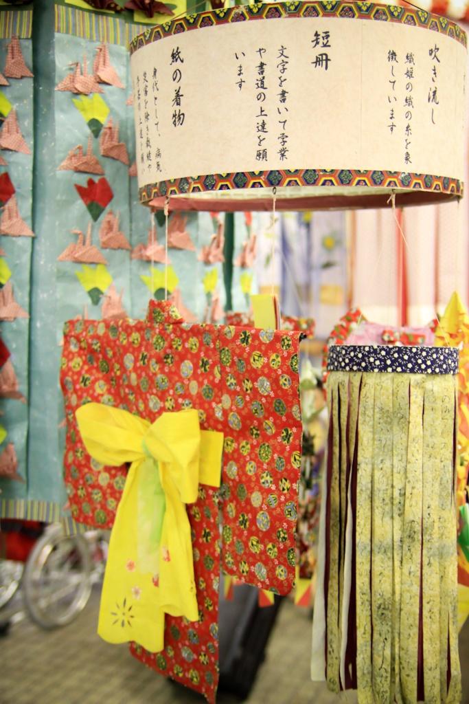 Small paper decorations to bring good luck in a variety of areas, Tanabata Matsuri, Sendai, Japan
