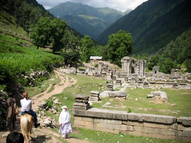 Riding Past Ruins, Practice Hike, Himalayas, Kashmir, India