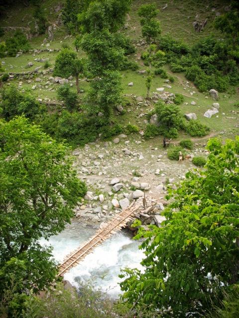 Bridge Bird's Eye, Himalayas, Kashmir, India