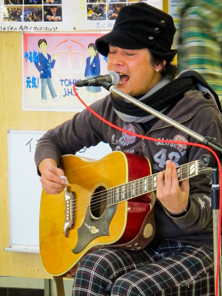 music, singer, singing, guitar, emergency, evacuation, shelter, Fukushima, nuclear, disaster, Japan, center