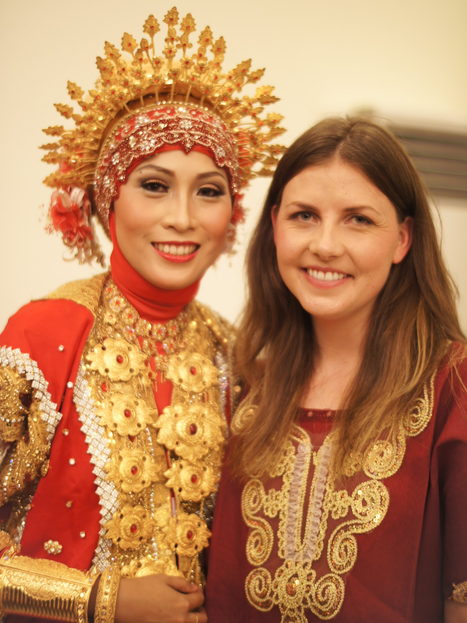 """Friends for 12 years. Jessica wearing the traditional """"baju bodo"""" with the stunning bride-to-be."""