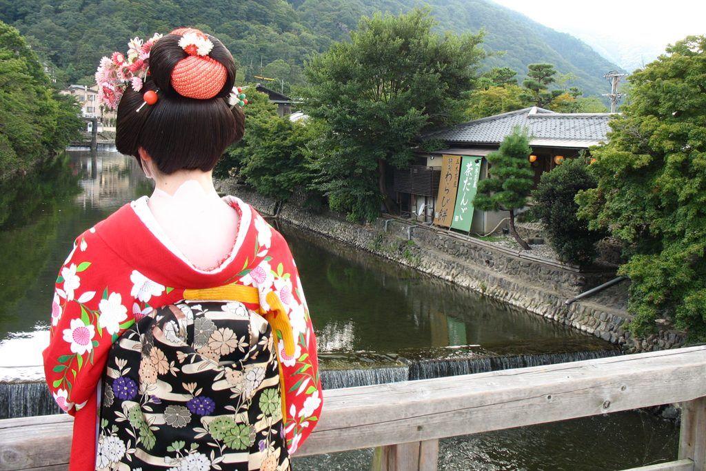 Dressing up as maiko, Arashiyama, Kyoto, Japan