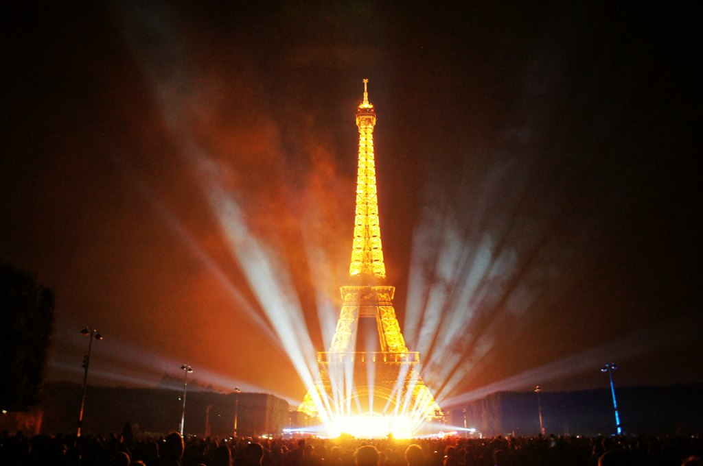 Bastille Day, July 14th Fireworks, Eiffel Tower, Champ de Mars, Paris, France