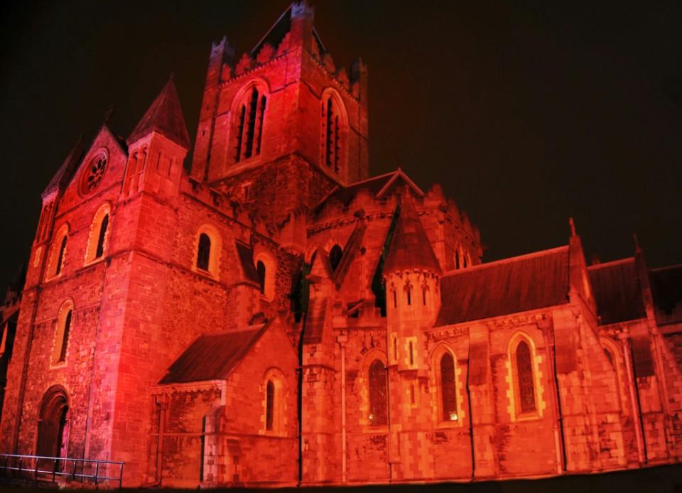 Bram Stoker Festival Dublin Christ Church Cathedral Lit Up Red
