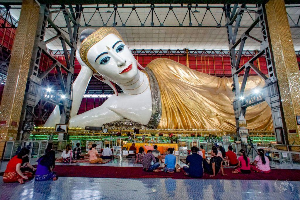 Chaukhtatgyi Temple Reclining Buddha Yangon Myanmar
