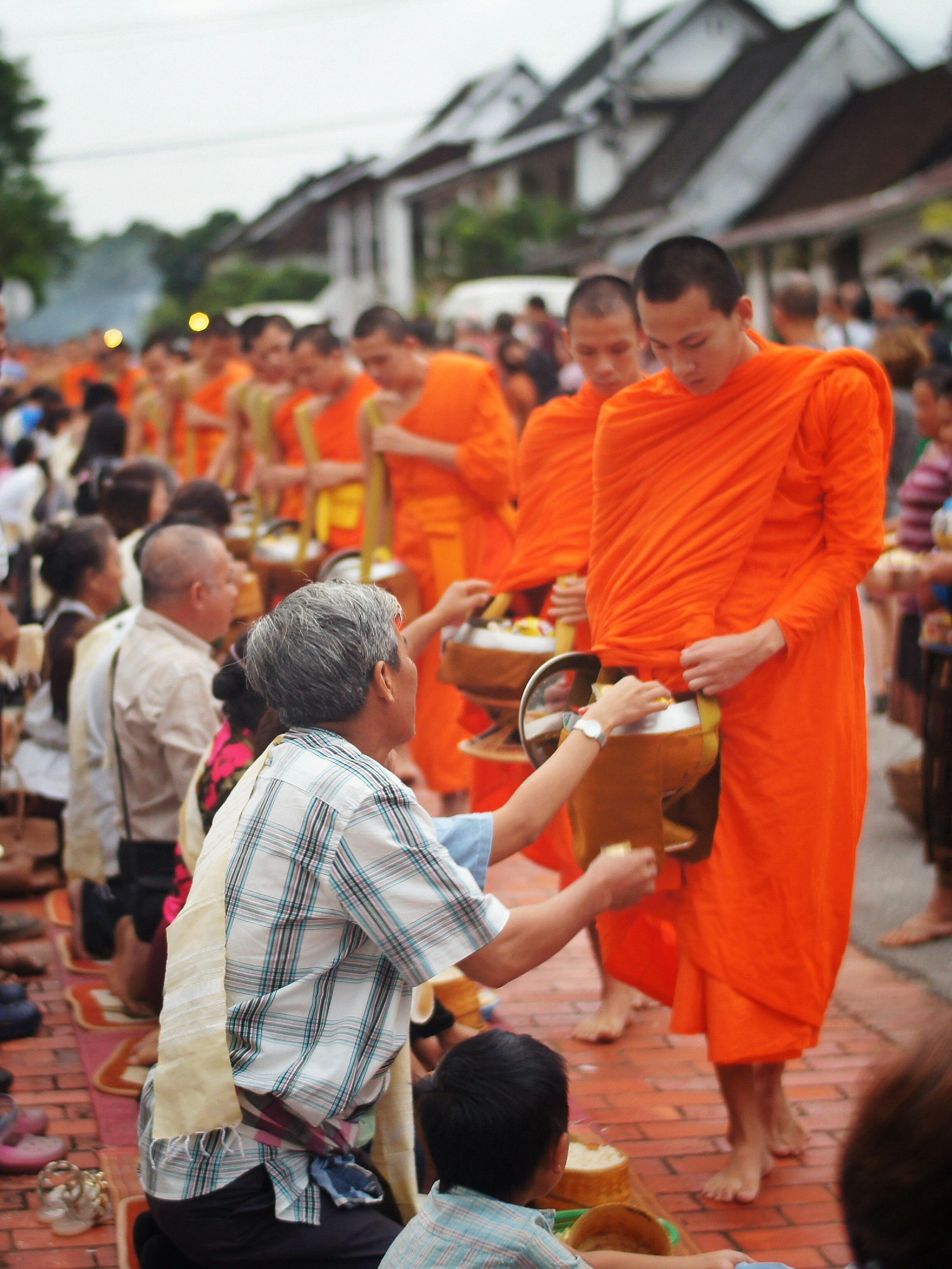 Alms ceremony, Luang Prabang, Laos