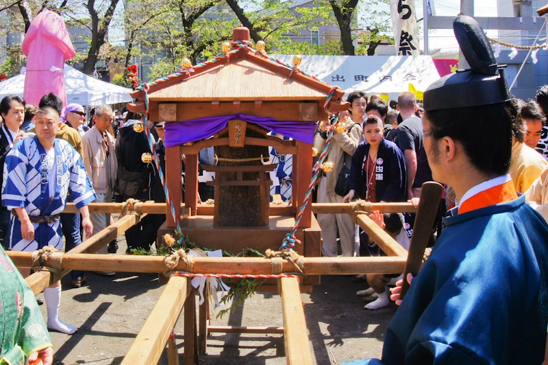 Big Kanamara Mikoshi made of wood