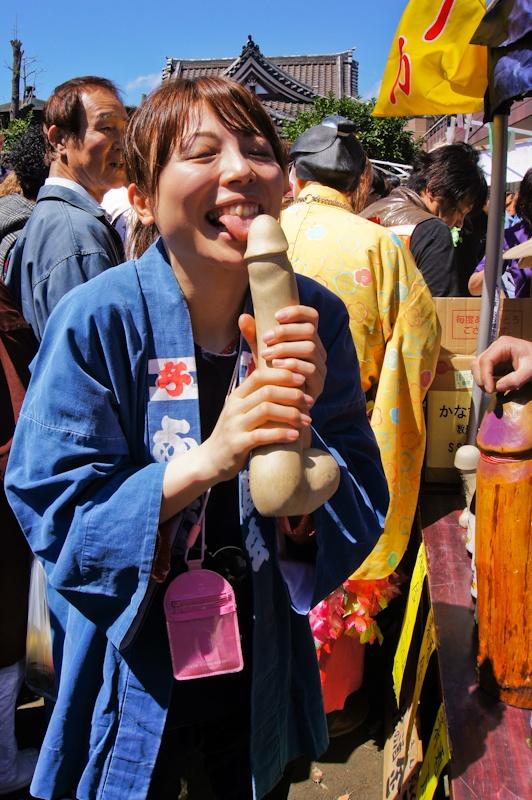 Penis posing, Kanamara Matsuri, Tokyo, Japan