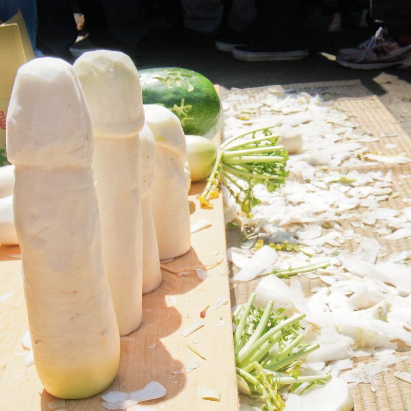 Penis radish carving, Kanamara Matsuri, Tokyo, Japan