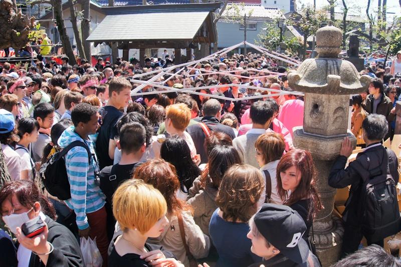 Crowds at Kanamara Matsuri, Kanagawa, Japan
