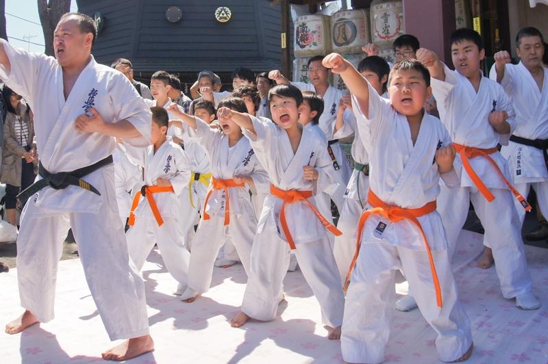 Karate display, Kanamara Matsuri, Kanagawa, Japan
