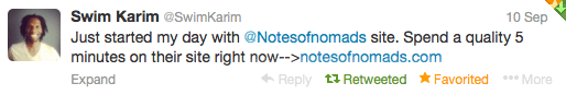 Notes of Nomads Reader Testimonial - Twitter