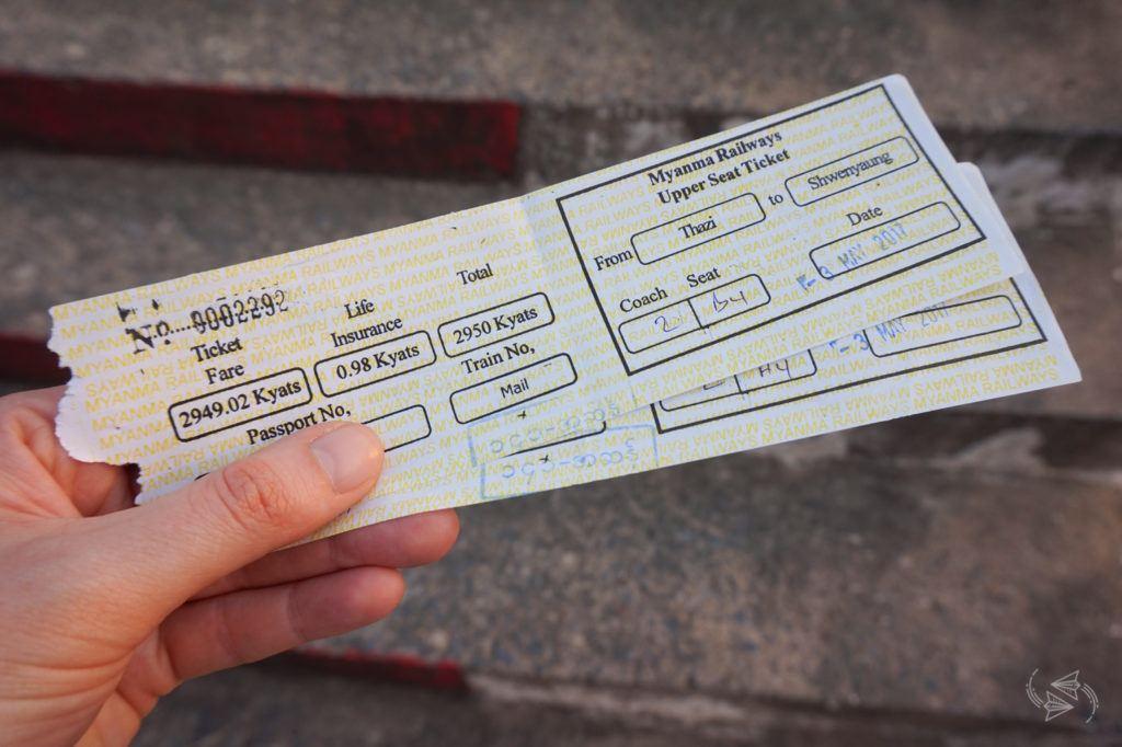 Upper class tickets Slow Train from Thazi Myanmar