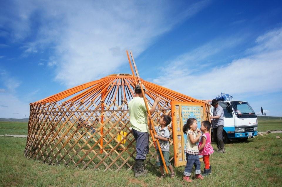 Ger set-up, Mongolia