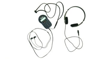 Museum audio guide with own earphones