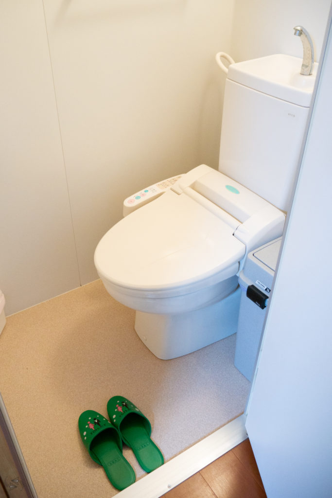 Green-coloured toilet slippers on the floor by the door to the toilet.