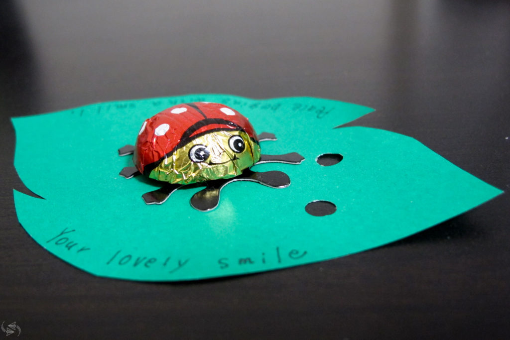 "An example of a tomo choco (friend chocolate) - a ladybug chocolate stuck onto a piece of green paper that has been cut into the shape of a leaf. Handwritten on the leaf are the words ""Peace begins with a smile. Your lovely smile."""